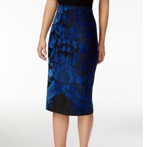 ECI Blue Black Velvet Print Stretch Pencil Skirt L